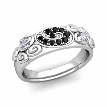 Swirl Black and White Diamond Wedding Ring Band in Platinum, 5.5mm