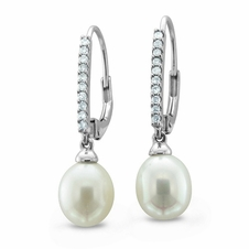 Cultured Pearl and Pave Diamond Drop Earrings in 14k White Gold (8-8.5mm)