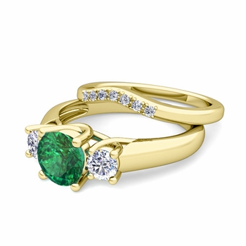 Trellis Diamond and Emerald Three Stone Ring Bridal Set in 18k Gold, 7mm