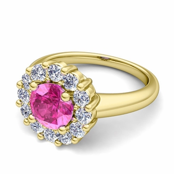 Pink Sapphire and Halo Diamond Engagement Ring in 18k Gold, 6mm