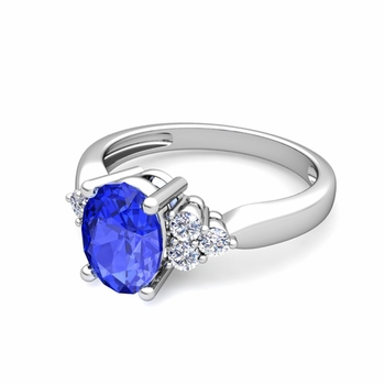 Three Stone Diamond and Ceylon Sapphire Engagement Ring in Platinum, 8x6mm