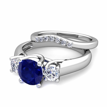 Trellis Diamond and Sapphire Three Stone Ring Bridal Set in 14k Gold, 7mm