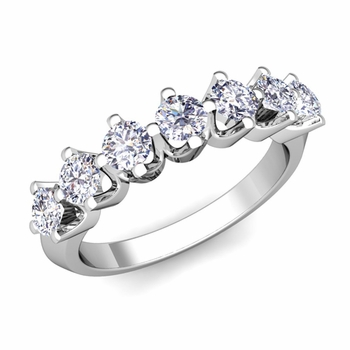 Crown Diamond Ring in Platinum Knife Edge Wedding Band