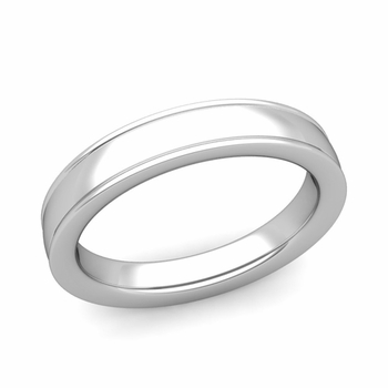 Ridged Edge Wedding Band in 14k White or Yellow Gold Comfort Fit Band, 4mm