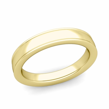 Ridged Edge Wedding Band in 18k White or Yellow Gold Comfort Fit Band, 4mm