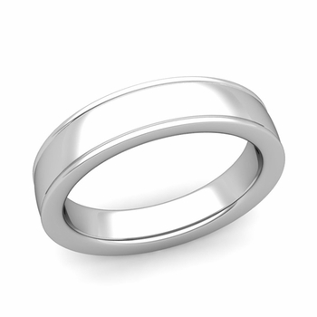 Ridged Edge Wedding Band in 14k White or Yellow Gold Comfort Fit Band, 5mm