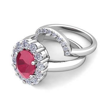 Diana Diamond and Ruby Engagement Ring Bridal Set in Platinum, 9x7mm