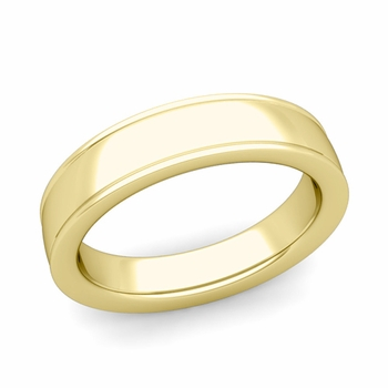 Ridged Edge Wedding Band in 18k White or Yellow Gold Comfort Fit Band, 5mm