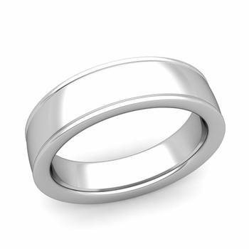 Ridged Edge Wedding Band in 14k White or Yellow Gold Comfort Fit Band, 6mm
