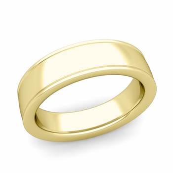 Ridged Edge Wedding Band in 18k White or Yellow Gold Comfort Fit Band, 6mm