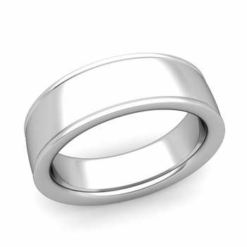 Ridged Edge Wedding Band in 14k White or Yellow Gold Comfort Fit Band, 7mm