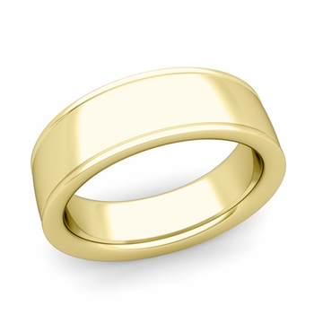 Ridged Edge Wedding Band in 18k White or Yellow Gold Comfort Fit Band, 7mm