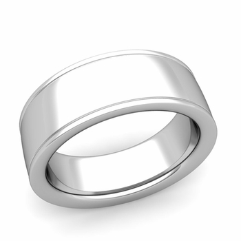 Ridged Edge Wedding Band in 14k White or Yellow Gold Comfort Fit Band, 8mm