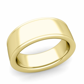Ridged Edge Wedding Band in 18k White or Yellow Gold Comfort Fit Band, 8mm