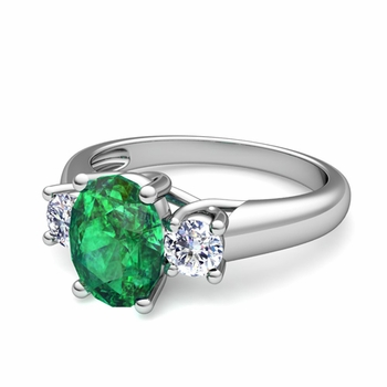 Classic Diamond and Emerald Three Stone Ring in Platinum, 9x7mm