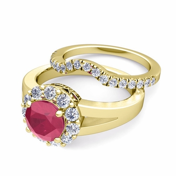 Radiant Diamond and Ruby Halo Engagement Ring Bridal Set in 18k Gold, 6mm