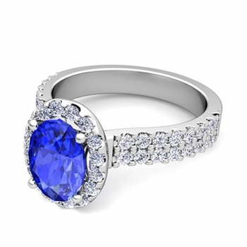 Two Row Diamond and Ceylon Sapphire Engagement Ring in 14k Gold, 7x5mm