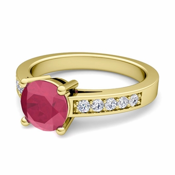 Pave Diamond and Solitaire Ruby Engagement Ring in 18k Gold, 5mm