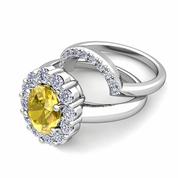 Diana Diamond and Yellow Sapphire Engagement Ring Bridal Set in Platinum, 7x5mm