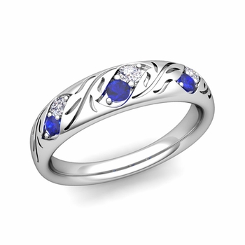 Vintage Inspired Diamond and Sapphire Wedding Ring in Platinum 3.8mm