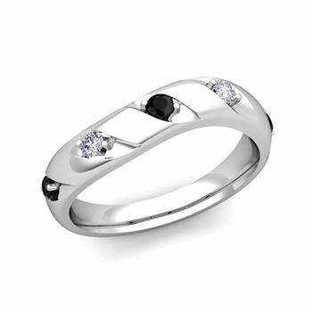 Curved Black and White Diamond Wedding Ring Band in Platinum, 3.5mm