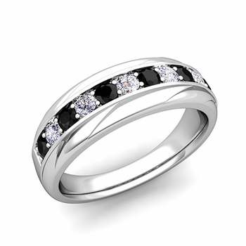 Brilliant Black and White Diamond Wedding Ring Band in Platinum, 6mm