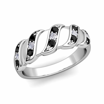 Twisted Black and White Diamond Wedding Ring Band in Platinum, 5mm