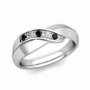 5 Stone Black and White Diamond Wedding Ring in 14k Gold Infinity Ring Band, 5.2mm
