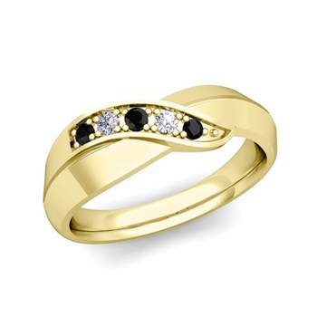 5 Stone Black and White Diamond Wedding Ring in 18k Gold Infinity Ring Band, 5.2mm