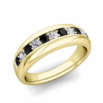 Brilliant Black and White Diamond Wedding Ring Band in 18k Gold, 6mm