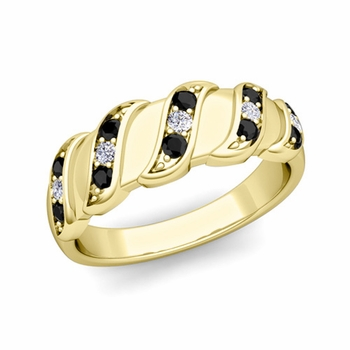 Twisted Black and White Diamond Wedding Ring Band in 18k Gold, 5mm