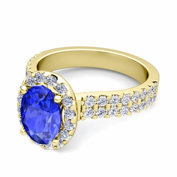 Two Row Diamond and Ceylon Sapphire Engagement Ring in 18k Gold, 9x7mm