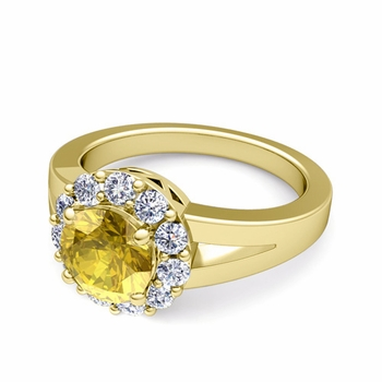 Radiant Diamond and Yellow Sapphire Halo Engagement Ring in 18k Gold, 7mm