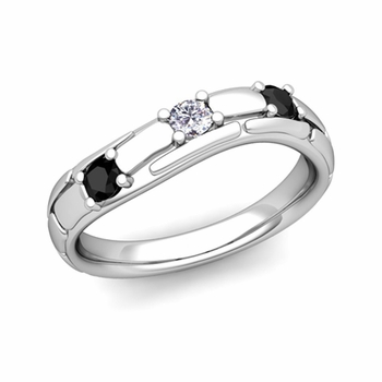 Organica 3 Stone Black and White Diamond Wedding Ring in 14k Gold, 3mm