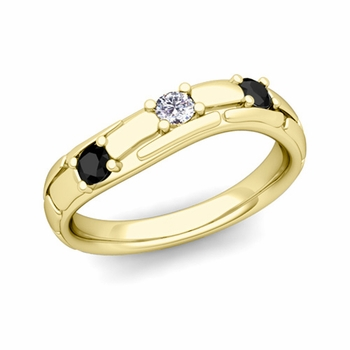 Organica 3 Stone Black and White Diamond Wedding Ring in 18k Gold, 3mm