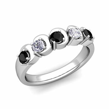 Organica 5 Stone Black and White Diamond Ring in 14k Gold, 3.5mm