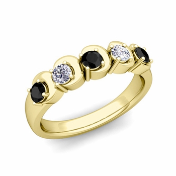 Organica 5 Stone Black and White Diamond Ring in 18k Gold, 3.5mm