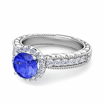 Vintage Inspired Diamond and Ceylon Sapphire Engagement Ring in Platinum, 6mm