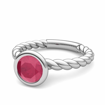Bezel Set Solitaire Ruby Ring in Platinum Twisted Rope Band, 6mm