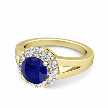 Radiant Diamond and Sapphire Halo Engagement Ring in 18k Gold, 6mm