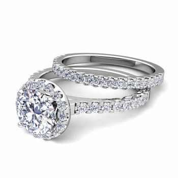Halo Bridal Set: Petite Pave Set Diamond Engagement Wedding Ring in 14k Gold