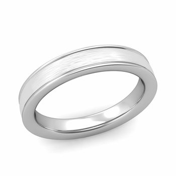 Brushed Finish Wedding Band in 14k White or Yellow Gold Comfort Fit Band, 4mm