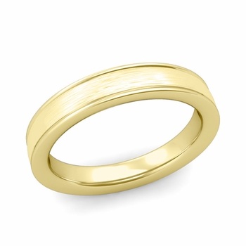 Brushed Finish Wedding Band in 18k White or Yellow Gold Comfort Fit Band, 4mm