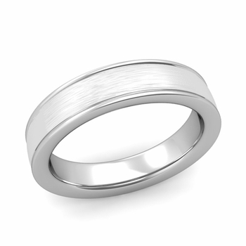 Brushed Finish Wedding Band in 14k White or Yellow Gold Comfort Fit Band, 5mm