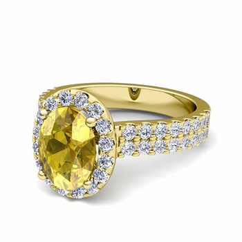 Two Row Diamond and Yellow Sapphire Engagement Ring in 18k Gold, 9x7mm