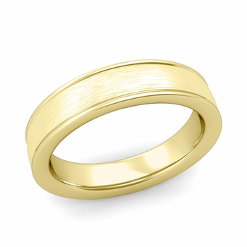 Brushed Finish Wedding Band in 18k White or Yellow Gold Comfort Fit Band, 5mm