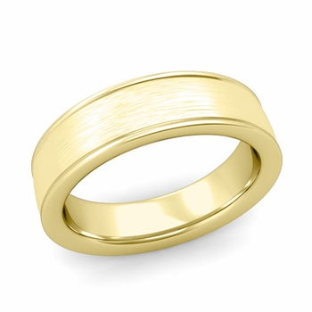 Brushed Finish Wedding Band in 18k White or Yellow Gold Comfort Fit Band, 6mm