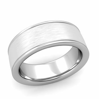 Brushed Finish Wedding Band in 14k White or Yellow Gold Comfort Fit Band, 8mm