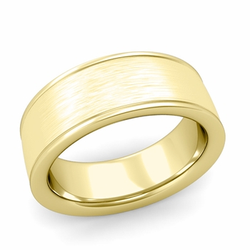 Brushed Finish Wedding Band in 18k White or Yellow Gold Comfort Fit Band, 8mm