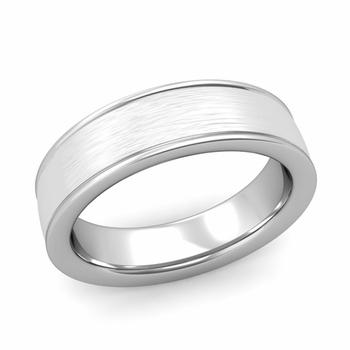 Brushed Finish Mens Wedding Band in Platinum Comfort Fit Band, 6mm